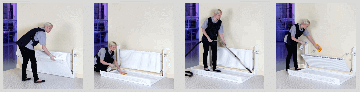How to clean behind a radiator cover