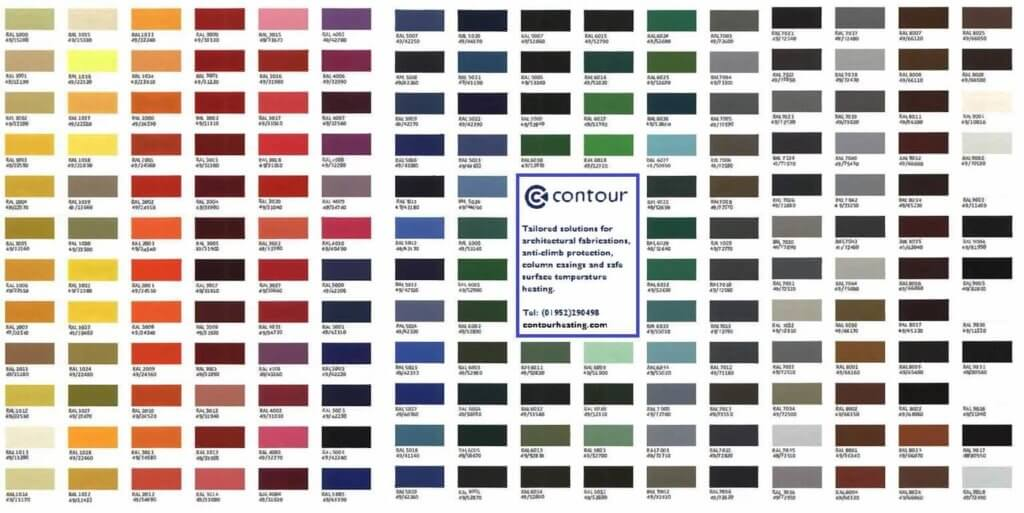 RAL Chart For Radiator Covers | Contour Heating | Shifnal, West Midlands